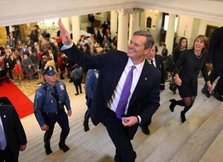 Charlie Baker ran up the grand staircase at the State House the day he was sworn into office. The first year has shown how thorny the issues he faces can be.